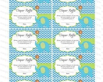 Elephant Baby Shower Diaper Raffle Ticket Diaper Raffle Card Diapers Raffles Printable Digital Files (87k)