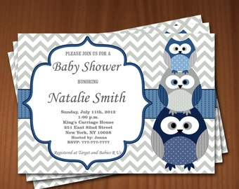 Owl Baby Shower Invitation Boy Baby Shower invitations Printable Baby Shower Invites -FREE Thank You Card - editable pdf Download (537) blue