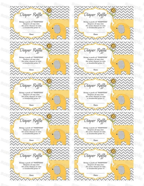 Elephant Baby Shower Diaper Raffle Ticket Diaper Raffle Card Pampers ...