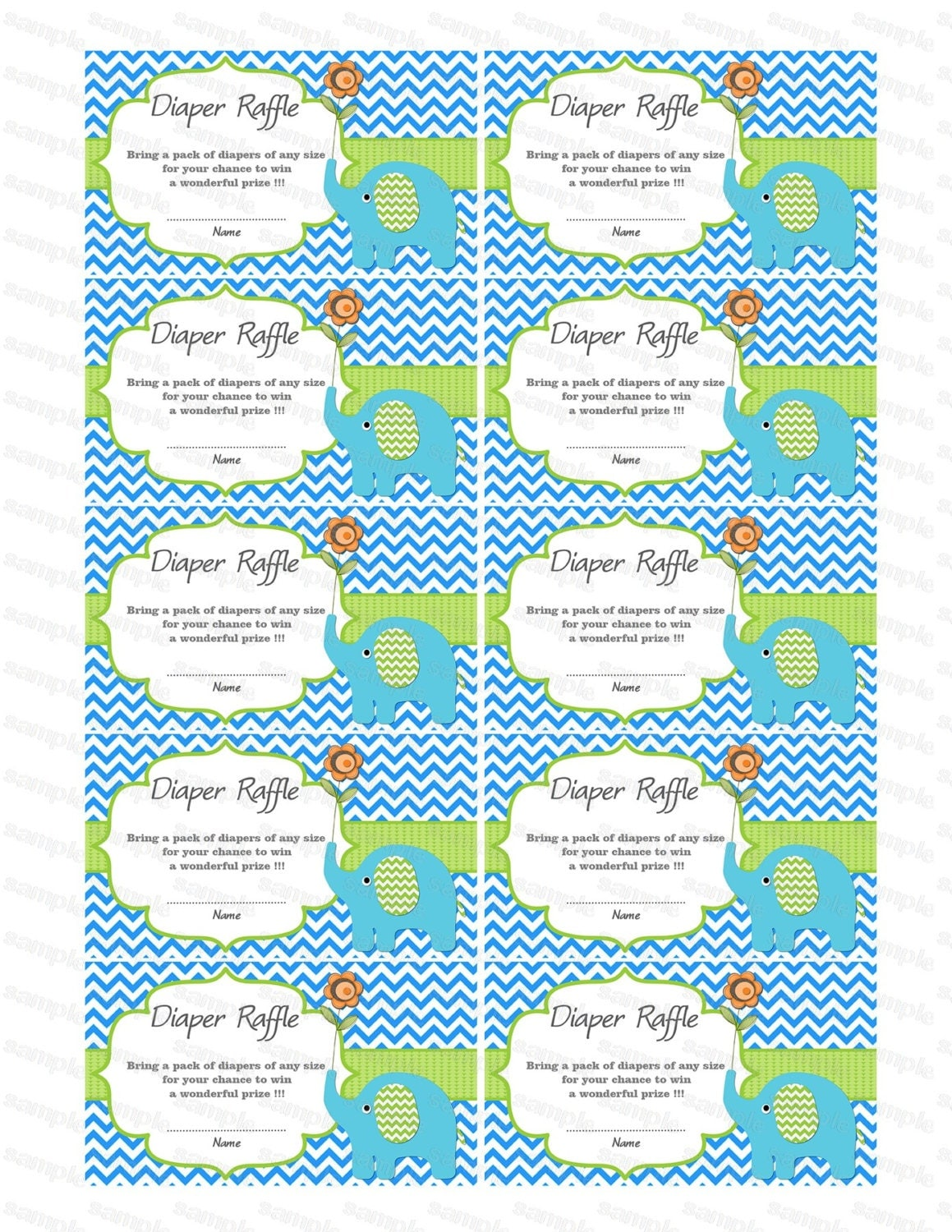 Printable Diaper Raffle Ticket Template for Pinterest