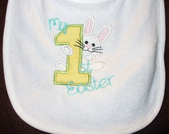 My 1st Easter Baby's First Easter charming bunny and #1 embroidered on a bib burp cloth or body suit you can customize and personalize
