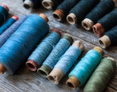 Collection of Vintage Thread - Winter Colors, Cool Colors, Blue, Ombre - OldTimeStories