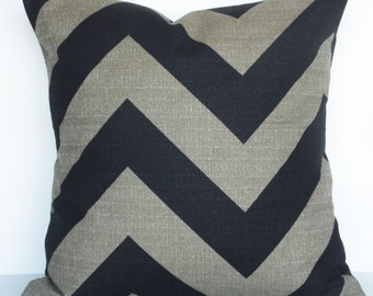 Single 16x16 Pillow Cover -  Denton Stone and Black Zippy Chevron Premier Print Pillow Cover