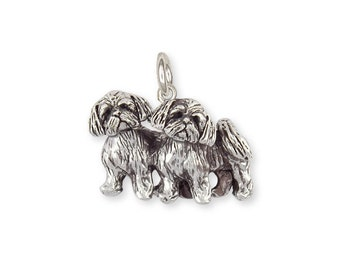 Sterling Silver Double Lhasa Apso Charm Jewelry  LSZ24-C