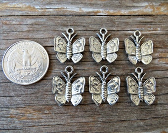 Lead Free Pewter Butterfly Charms (lot of 6)