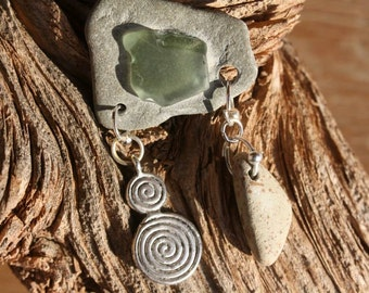 Natural Stone and Sea Glass Brooch