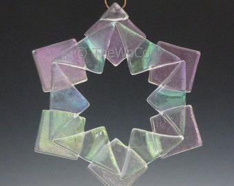 BAUBLES Clear Iridized Snowflake, Fused Glass Ornament Suncatcher