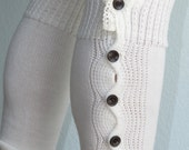 CLEARANCE Ivory Open Crochet Knit Leg Warmers Boot Socks Woman Accessory Ivory Button Down Legwarmers Lace