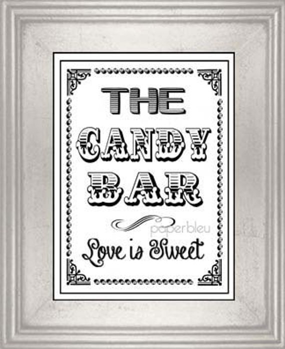 Wedding & Party Candy Bar Sign DIY Instant by ...