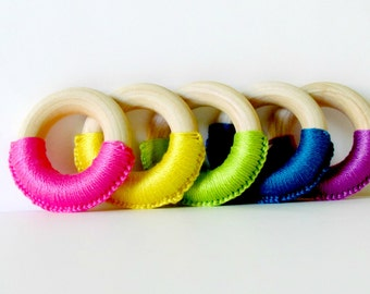 Rainbow Crochet Wooden Teething Rings , Simple Baby Teething Toy , pick a color , Ready To Ship
