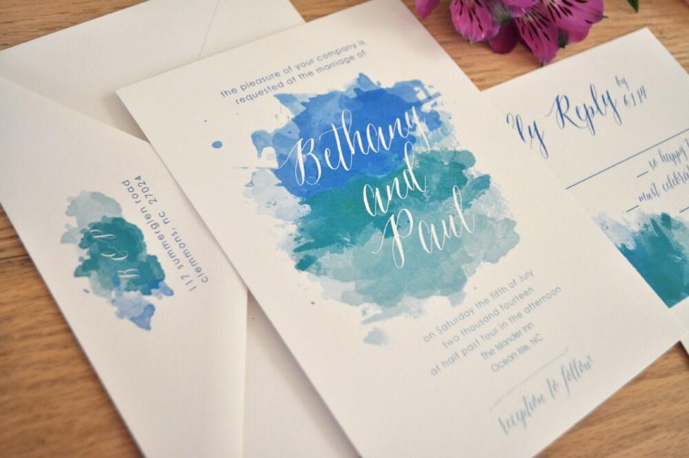 Ombre Wedding Invitation: Watercolor Wedding Invitation