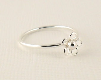 Sterling Silver Stacking Ring, Flower Ring, Thin Stacking Ring, Pinkie Ring, Sterling Silver Jewellery 925