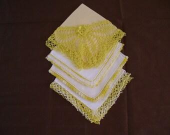 Four Vintage Linen Hankies Lemon Yellow Crochet, Yellow Handkerchief, Hanky Crochet, Hanky Lace, Hanky Lot, White Linen Handkerchief,