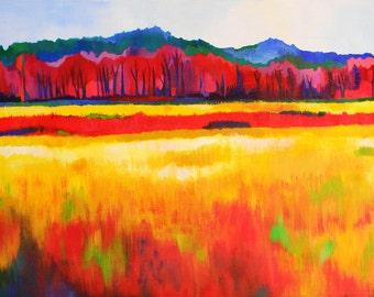 Card of Vibrant Landscape Painting- mini print on linen paper