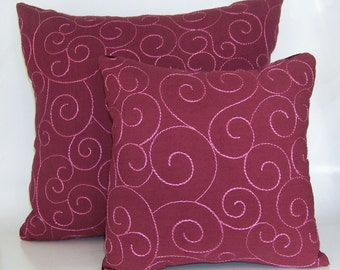 2 Pink and Burgundy Decorative Pillows