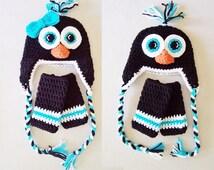 Baby Twin Set - Penguin Hats with Earflaps & Leg Warmers Set - 0 to 3 Months, 3 to 6 Months, 6 to 12 Months - Artic, Ice, Animal