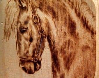 Hand-Made Horse Woodburn on Pine