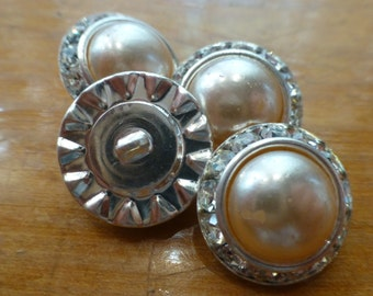 Vintage Rhinestone Pearl Buttons No.1009