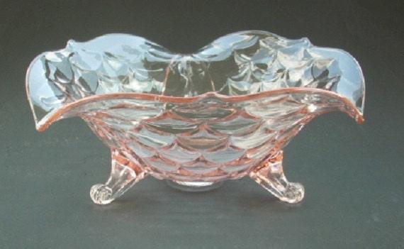 Lancaster glass pink depression bowl centerpiece candy