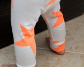 Gender Neutral Baby Leggings-Neon Orange Stars