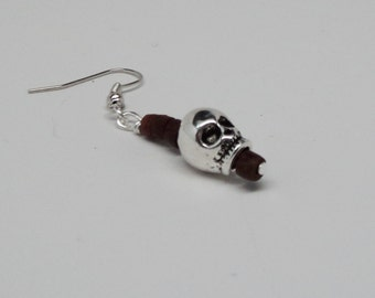 Man's Silver Toned Skull Bead Wood Beads Silver Toned Findings Wire Wrapped to Silver Toned Ear Wire