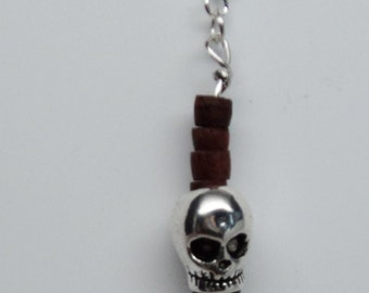 Man's Silver Toned Skull Bead with Wood Beads Silver Toned Findings Wire Wrapped to Silver Toned Ear Wire