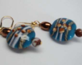 Handmade Lampwork Glass Sky Blue Lentil Blue Beads Gemstone Bead Bronze Toned Bead Wire Wrapped to Gold Toned Lever Back Ear Wire