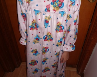 Size 7 Girls Night Gown  Cats on Light Pink Gingham