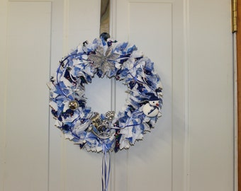 White and Blue Christmas Wreath