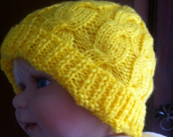 Baby hat, toddle hat, knit hat, hand made hat, yellow hat, baby boy yellow hat, baby girl yellow hat