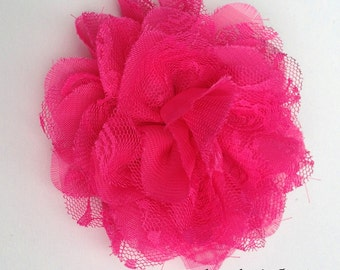 Hot Pink Chiffon Lace Flower Spring and Summer