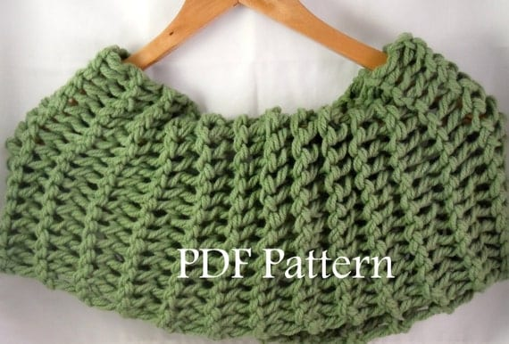 Knitted Drop Stitch Cowl Pattern : Items similar to Knit Twisted Drop Stitch Cowl Pattern - Easy Elegant Knit Ne...