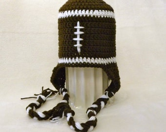 Brown and White Football Hat