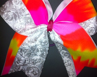 CHEER BOW white rosette and pink multi colors