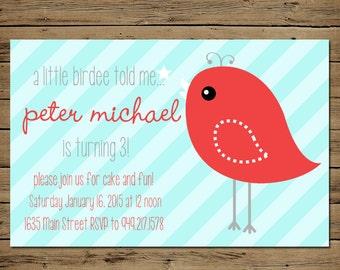 Birdie Birthday Invitation - Custom Birthday Party Invite Boy or Girl - Printable - Vintage Red Bird