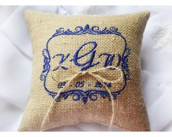 Burlap Wedding pillow , wedding pillow , ring bearer pillow, ring bearer pillow, personalized wedding pillow (R50B)