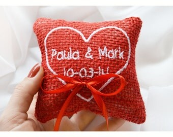Ring bearer pillow ,Heart wedding pillow ,personalized ring pillow, ring bearer pillow , wedding ring pillow, Custom embroidery 4'x4'(LR16)