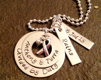 Personalized divided by duty necklace military army navy Air Force marine corps coast guard