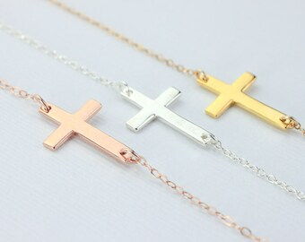cross necklace. sideways cross. kelly ripa, celebrity inspired, horizontal necklace. rose gold filled or gold filled  or sterling silver