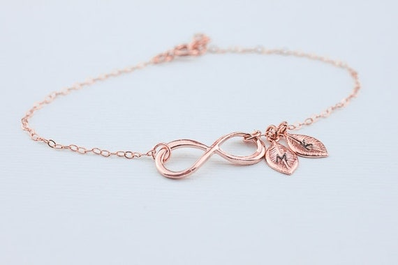 infinity bracelet initial infinity rose gold filled jewelry. Black Bedroom Furniture Sets. Home Design Ideas