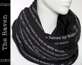 The Raven poem on the scarf - Infinity scarf - Black -Text Scarf - Book - Edgar Allan Poe - Poetry - Gift - LiteratiClub