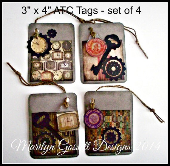 "Steampunk style ATC Tags come as a set of four packed in clear cello in a matching box.  The cards are the standard 3"" x 4"" cards."