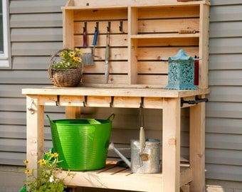 Potting Bench, Outdoor Entertainment Hutch with Casters