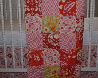 Minky Patchwork Toddler Quilt, Plush and Cuddly, pink, orange, fuschia, red, yellow, aqua, All Natural, Handmade