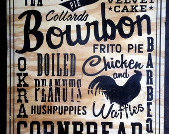 """Southern Foods 18""""x24"""" black on wood sign"""