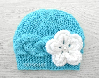 Cable Knit Baby Beanie, Blue Knit Cable Hat, Cute Baby Hat, Blue Turquoise Cable Baby Beanie, MADE to ORDER