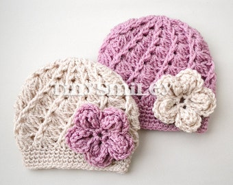 Twin Baby Girl Hats, Beige and Mauve Pink Flower Baby Beanies, Crochet Baby Flower Beanie, Twin Baby Beanies, Made to Order