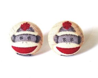 CLEARANCE 10% OFF Sock Monkey Button Earrings Size Small
