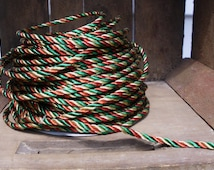 """Red, Green, and Gold wired Rope Cording, Christmas Ribbon, 4 1/2 yards, 1/4""""(6MM) in diameter/Scrapbooking, Package bows, Wreath bows CR1010"""