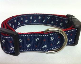 Nautical Navy Dog Collar